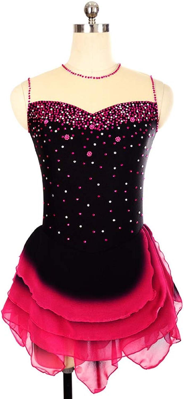 GZHGF Handgemachte Eiskunstlauf Kleid Für Frauen und Mdchen Sexy rmellose Strass Blaume Professionelle Gymnastik Trikot schwarz