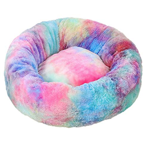 XYao Cat Bed Dog Bed Fluffy Pet Bed Calming Bed Cat Nest Soft Plush Home For Small Medium Large Pet,Winter Warm Cuddler Kennel Sofa,Anti-Slip Bottom,-Relief Improved Sleep (Multicolor,M)