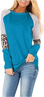 HAPPIShare Womens T Shirts Leopard Print Patchwork Tops for Women Long Sleeve Leopard Printed Casual Blouse