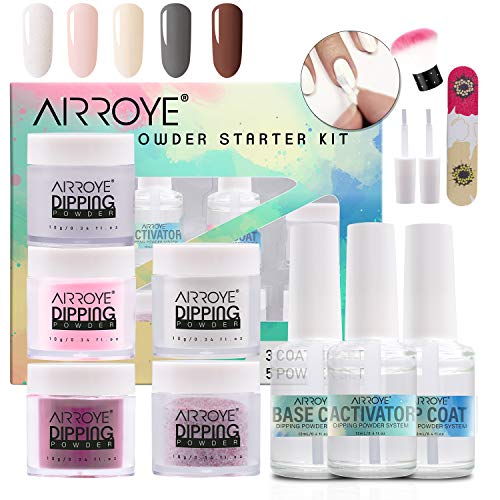 Dipping Powder Starter Kit with 5 Colors with 2 in 1 Base&Top Coat, Activator, Brush Saver,Dipping Powder System Starter Nail Kit Dipping System for French Nail Manicure Nail Art Set Essential Kit