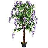 COSTWAY Arbre Artificiel Plante Artificielle en Pot avec Fausses Fleurs Violetes Convient pour Intérieur ou Extérieur Wisteria 150cm