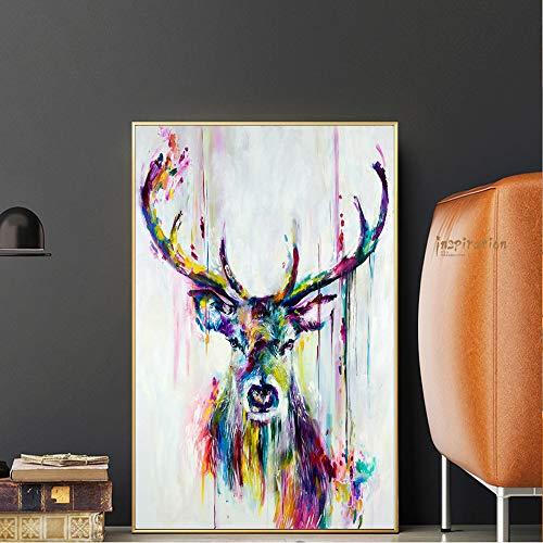 QWESFX Aquarell Tiere Pop Wandkunst Leinwand Drucke und Poster Abstract Deer Modernes dekoratives Bild für Wohnzimmer Kinderzimmer (Druck ohne Rahmen) E 60x120CM