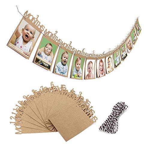 Kinderen eerste verjaardagscadeau, verjaardagsslinger fotolijst baby foto banner baby 1-12 maanden foto prop party slinger decor