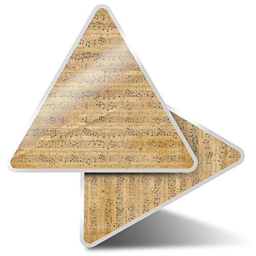 2 pegatinas triangulares de 10 cm – Viejas partituras musicales canciones musicales bandas divertidas calcomanías para portátiles, tabletas, equipaje, libros de desechos, neveras, regalo fresco #45917