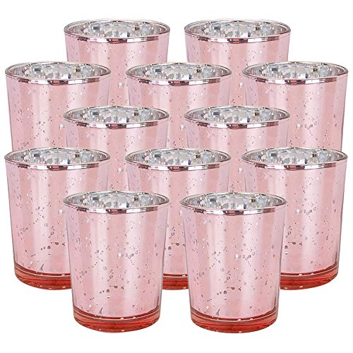 YarStore Versatile Charming Mercury Glass Votive Candle Holder 4' H (Set of 12) Speckled Blush - Mercury Glass Votive Tealight Candle Holders for Weddings, Parties and Home Décor