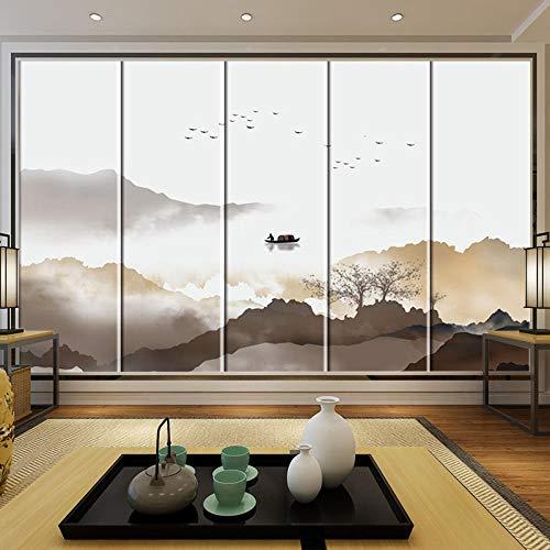 Ksnrang Chino Dormitorio Principal mesita de Noche Bolsa Suave Sala de Estar Tela Tinta Zen Pintura de Paisaje TV Video Pared Bolsa Dura Fondo Pared 150 * 105cm