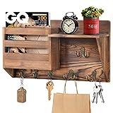 ANVAVA Organizador de pared con estante de madera, para colgar llaves con 3 ganchos dobles y 3 ganchos individuales, soporte para revistas vintage con estante para llaves, cartas, folletos, revistas