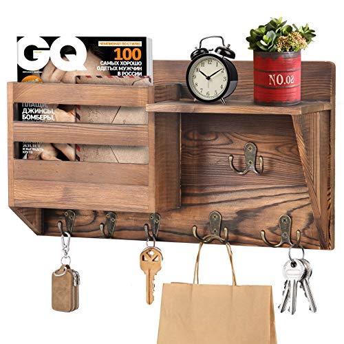 ANVAVA Wandorganizer mit Ablage aus Holz, Wand Schlüsselbrett mit 3 Doppelhaken & 3 Einzelhaken, Zeitschriftenhalter Vintage mit Regal für Schlüsseln Briefen Prospekten Magazin
