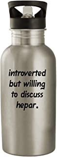 Introverted But Willing To Discuss Hepar - 20oz Stainless Steel Water Bottle, Silver