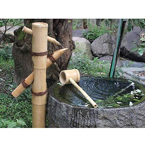 Bambus Wasserspiel Wasserbrunnen mit Pumpe und Löffel Garten Wasser fließendes Merkmal Japanisches Gartenmerkmal im Freien