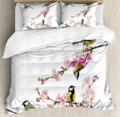 Birds 3D Duvet Cover Sets Bedspread for Adult Kids, Fitted Sheet, Pillowcase Full Size, 4pc Luxury Bedding Set Group of Cute Hummingbirds on Flowering Branch Best Friends Peace Illustration Home