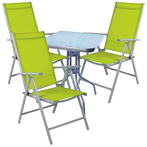 mojawo Salon de 4 pièces table de bistrot métal 60 x 60cmh70 cm + 3 chaises pliantes aluminium/textile gris argenté/Lime