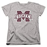 Mississippi State University Official Distressed Primary Women's T Shirt,Athletic Heather, Medium