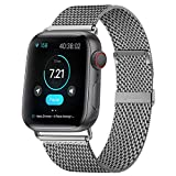 KOUUNN Compatible for Apple Watch Band 42mm 44mm, Stainless Steel Mesh Sport Wristb