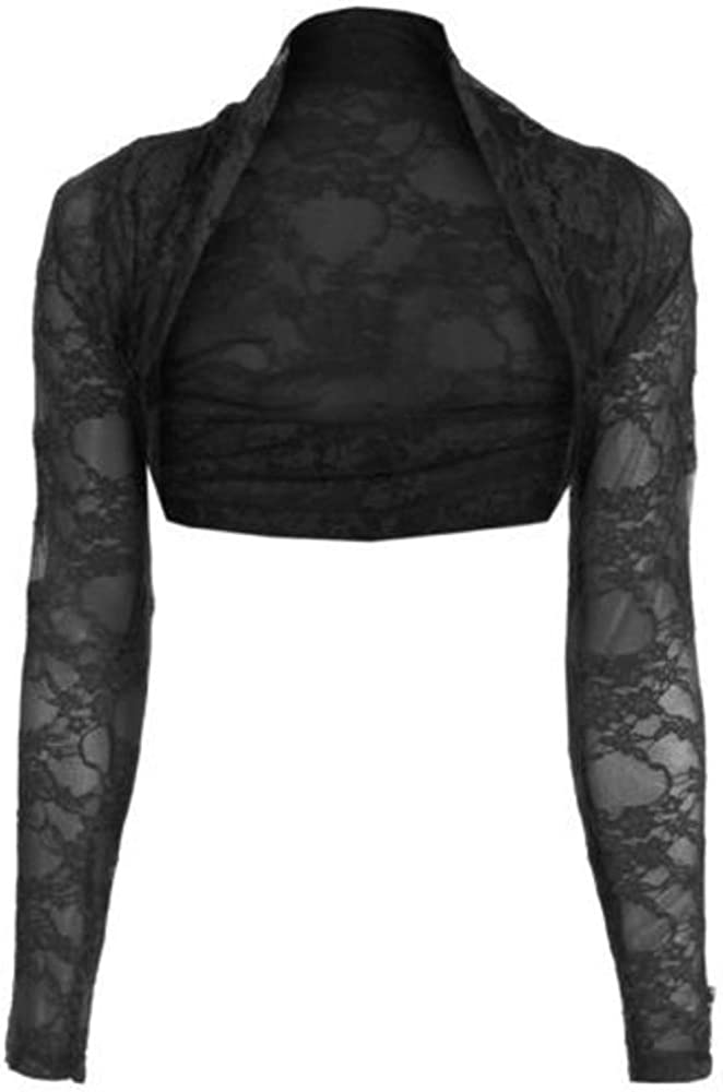 maf Womens Long Sleeve Lace Floral Ladies Cropped Short Shrug Bolero Cardigan Top 6-20 Black