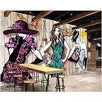 Iusasdz カスタム壁紙3D写真壁画レトロ手描き美容衣料品店ツーリングテレビ背景壁紙-350X250Cm