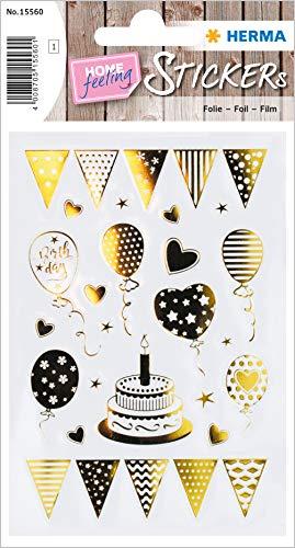HERMA 15560 Creative Sticker Birthday Party Goldfolie für Kinder, Mädchen, Jungen, Hochzeit, Geburtstag, Geschenke, Fotoalbum, 22 Aufkleber