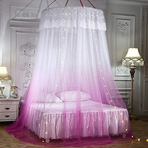 GLXQIJ GroßE Romantische Farbverlauf Kuppel Moskitonetz Vorhang Prinzessin Bett Baldachin Spitze Runde Zelt BettwäSche, Pink