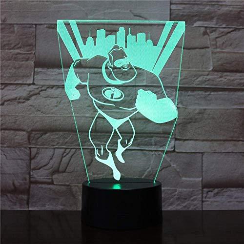 Luz de la noche de los niños 3D llevó la luz de la noche Mr. Bob Parr increíble figura USB decoración niño niños bebé regalo superman agente noche lámpara de mesa 16 colores