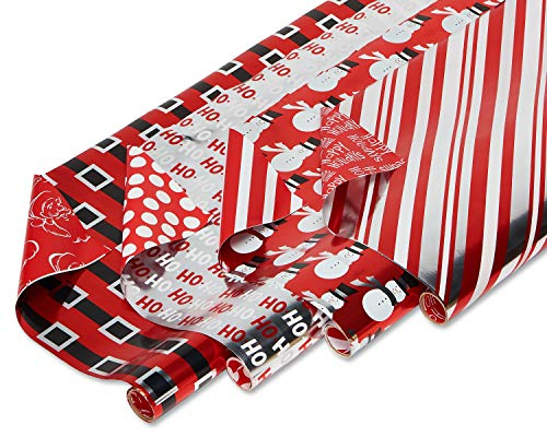 American Greetings Reversible Christmas Wrapping Paper, Candy Cane Stripe, Snowmen and Santa Belt (4 Pack, 80 sq. ft.)