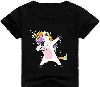 0790ff5c1eccb T-Shirt Licorne Fille Enfant Manches Courtes Été Garçon Pas Cher Mode  Manche Raglan Printemps