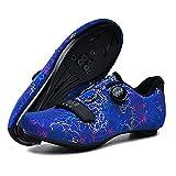 GGBLCS Zapatos De Ciclismo De Carretera Hombres, Mujeres Zapatos De Bicicleta MTB con Tacos Zapatos De Bloqueo Ligeros De Montaña para Andar Bicicleta,Azul,40 EU