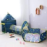 OldPAPA Tente de Jeu Enfants, Tente de Château 3 en 1 Tunnel d'exploration Contextuelle et Piscine à balles Intérieure Playhouse pou Tout-Petits Garçons Filles(Bleu)