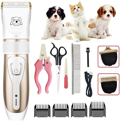 ZLALF Dog Grooming Clippers Kit with High Power Low Noise for Thick Coats Heavy Duty Plug-in Pet Trimmer Electric Professional Hair Clippers,Best Hair Clipper for Dogs Cats Pets