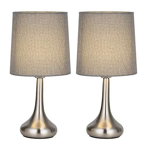 Conjunto de 2 lámparas modernas al lado, elegantes lámparas de mesa modernas en forma de lágrima cromadas con pantalla de tela gris, lámparas de mesita de noche simples vintage para dormitorio