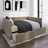 DHP Daybed with Storage Drawers, Full, Tan Velvet Bed