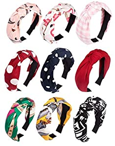Utkarsh (Set of 9 Pcs) Multicolor Solid Fabric Pattern Korean Style Fabric Knotted with Tape Plastic Hair Band/head Band for Women's and Girl's