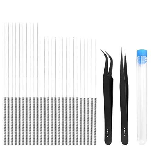 35pcs Herramienta de Limpieza de Boquillas Agujas de Limpieza Impresora 3D, 0.15mm, 0.25mm, 0.35mm, 0.4mm, con 1pcs Caja y 2pcs Pinzas para Impresora 3D