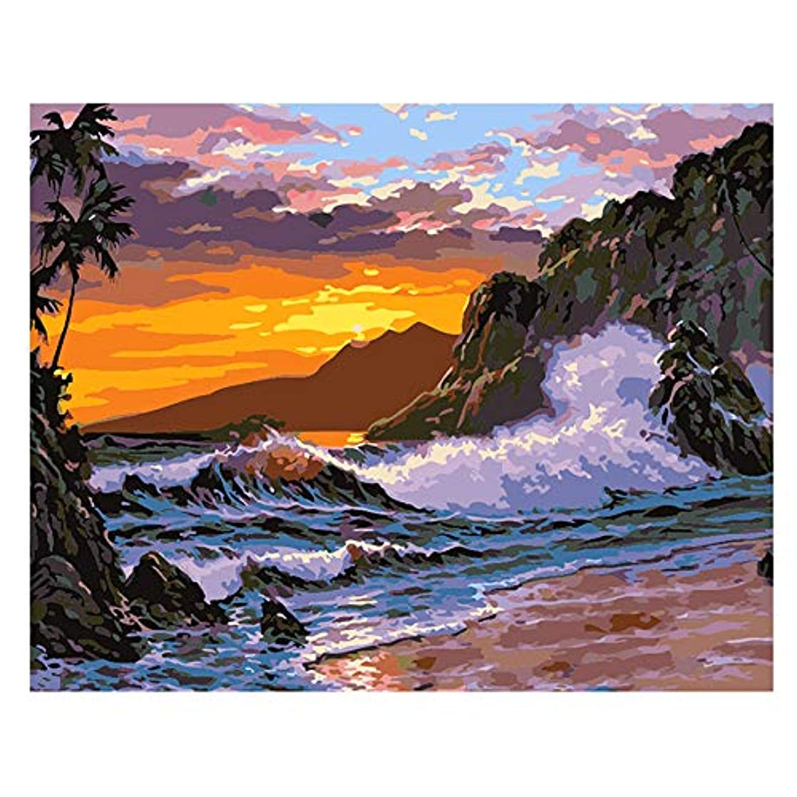 Acrylic Paint by Number Kits for Adults Beginner by TOCARE,Sea Wave Pattern 16x20inch codbepww73223