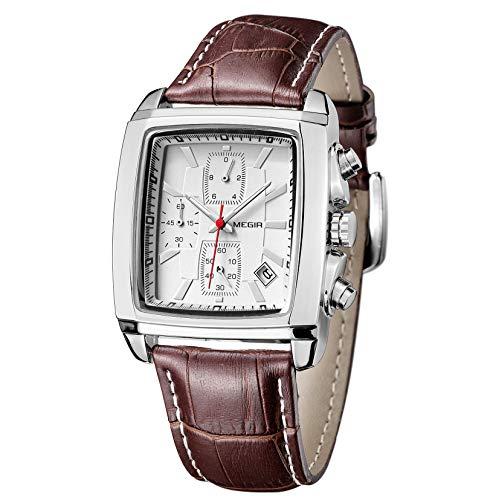 MEGIR Rechteckige Herrenuhr Quadratische Herren Chronograph Uhr Klassisches Leuchtende Quarz Mit Braune Lederuhr