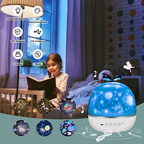 Proyector Estrellas, Crapuschla Lámpara Proyector 360 Grados de Estrellas y Cosmos, Lámpara Infantil con Control de Temporizador, USB & Pilas y 8 Modos para Niños, Novia, Cumpleaños y Fiesta