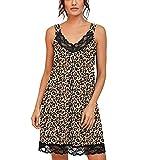 XXYsm Damen Nachtwäsche Sommer Tank Kleider V-Ausschnitt Nachthemd Weiches Schlafshirt Plissee Nachtkleid Dessous mit Spitzendetail