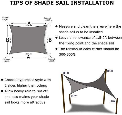 Gasou Markisenquadrat 2x2,5 m Sonnensegel wasserdicht inklusive Zubehör Perfekt für den Außenbereich - Terrakotta-Creme_4x6m