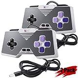 2 Pack USB Retro SNES Controller Gamepad Joystick, iNNEXT Super Classic USB PC Controller for Windows PC MAC Linux Raspberry Pi 3 Genesis Higan Snes9x Retropie OpenEmu Emulator - Plug & Play (Purple)