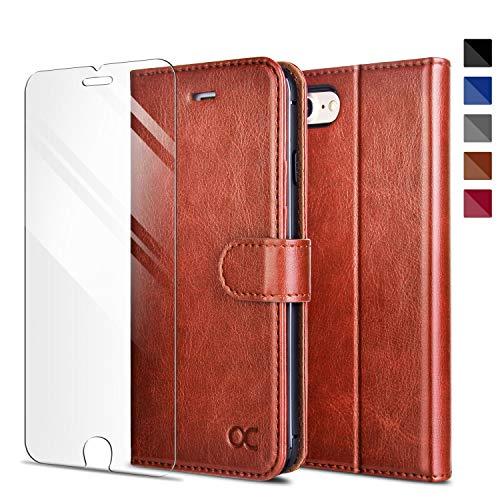 OCASE Kompatibel mit iPhone SE 2020 Hülle iPhone 7 Handyhülle iPhone 8 [ Gratis Panzerglas Schutzfolie ] [Premium Leder] [Kartenfach] Schutzhülle Cover Hülle für iPhone 7/8/SE 2020 Braun