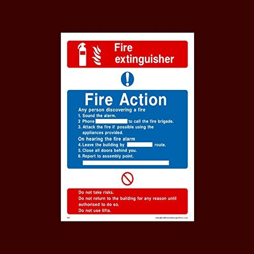 Fire Action brandblusser teken Stickers zelfklevende vinly waarschuwing Stickers Lable Fire, montage punt, breken glas, Lift, Alarm, brandblusser