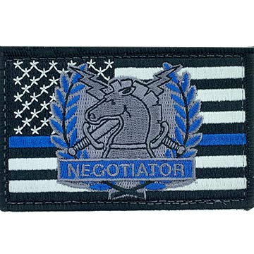 Thin Blue Line Negotiator Gray Patch with Velcro Brand Backing
