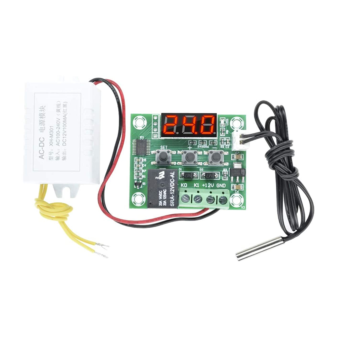 人生を作るシーン司教DiyStudio W1209 AC 110-220V AC110V -50-110°Cデジタル温度調整スイッチセンサーバンド電源モジュール AC220V