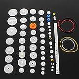 SPTwj Plastic Gears Set 60 Piezas Single Double Reduction Gear Worm Gear Robot Parts DIY Kit White Plastic Gear Shaft Belt Rack