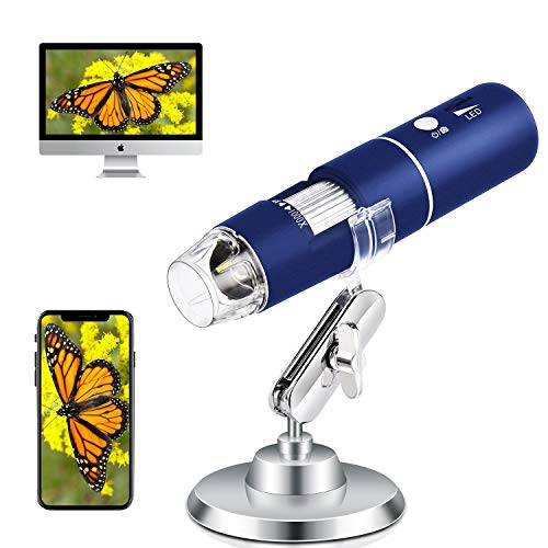 Wireless Digital Microscope Handheld USB Magnification Microscope Camera 50-1000X Zoom 1080P Mini WiFi Microscope Portable Pocket Microscope 8 LED for Android Phone iPhone Table Windows Mac, Blue