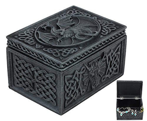 Ancient Celtic Relic of The Dragon Chest Tombstone Hinged Jewelry Box Keepsake Sculpture Figurine for Fantasy Collector Medieval Magic Fans