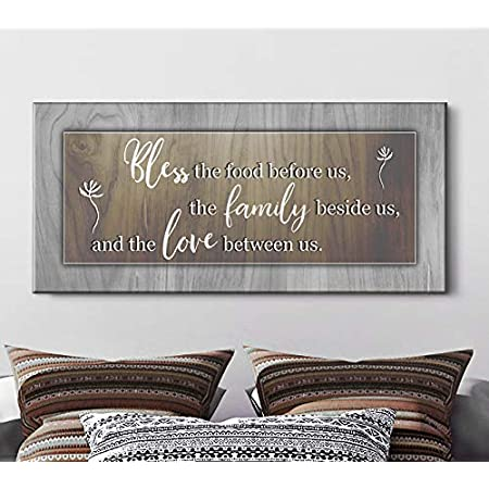 Amazon Com Sense Of Art Bless The Food Before Us Qoute Farmhouse Kitchen Decor Dining Room Wall Rustic Christian Decorations Brown 42x19 Posters Prints