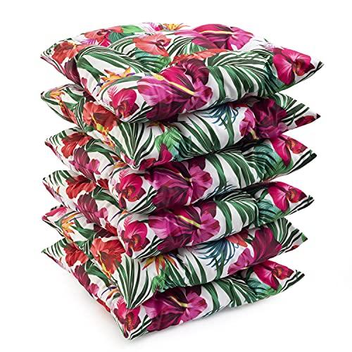 H&F Heimtextilien Stuhlkissen 40x40x5 cm Gartenkissen, Sitzkissen Steppkissen Zierkissen, 6-er Set, Weiß mit bunten Blumen, Dicke Polyester Gesteppt für Stühle & Gartenmöbel, im Indoor und Outdoor