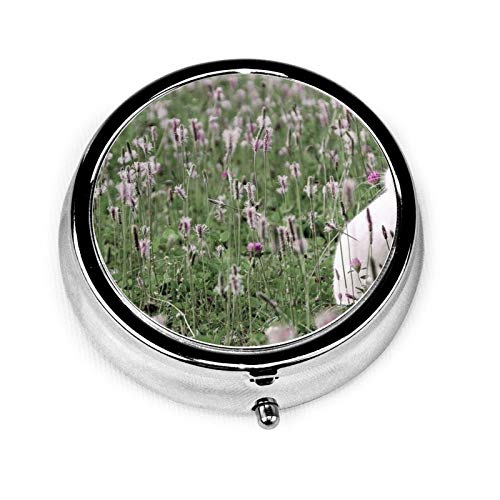 3 Compartment Pill Box Rabbit Grass Flowers Field Luxury Travel Kit Storage Metal Round Silver Button Pill Dispenser Vitamins Fish Oil Supplements
