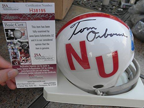 Tom Osborne Signed Nebraska Cornhuskers Throwback 2-bar Mini Helmet JSA COA