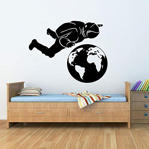 Tianpengyuanshuai Astronaut Planet Erde Wandaufkleber Kindergarten Vinyl Wandtattoo Schlafzimmer Wohnkultur 63X50cm